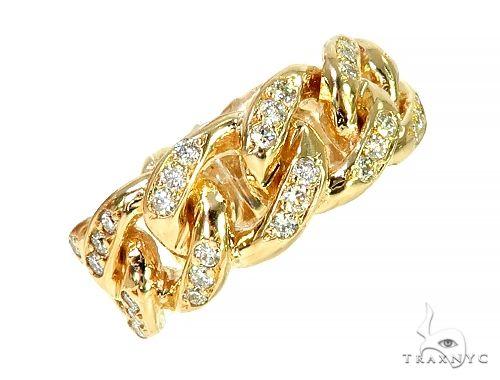 14K Yellow Gold 1 Row Miami Cuban Diamond Ring 66021 Stone