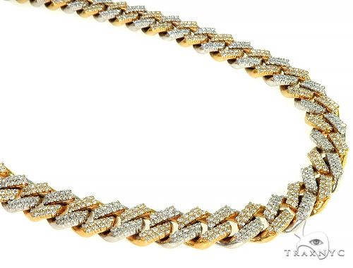 Two Tone Miami Cuban Link Diamond Necklaces 66025 Diamond