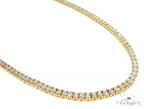 14K Yellow Gold Diamond Tennis Chain 22 Inches 3mm 12.32ct 34.50 Grams Diamond