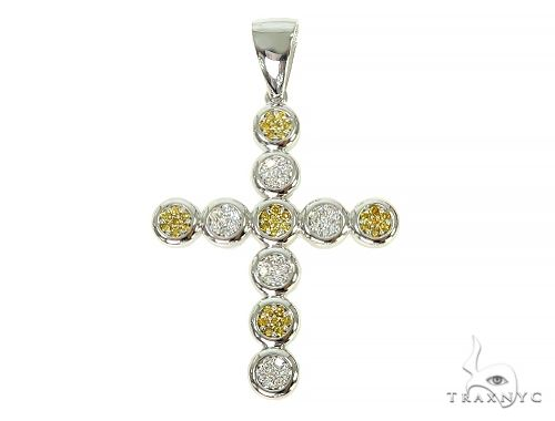Prong Diamond Canary Cross Pendant 66046 Diamond