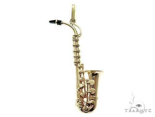 14K Yellow Gold Custom Made Saxophone Pendant 66052 Metal