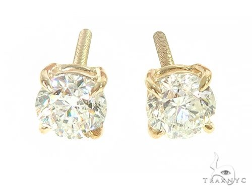 14K Yellow Gold Diamond Stud Earrings 66053 Stone