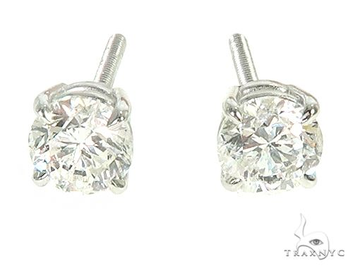 14K White Gold Diamond Stud Earrings 66054 Stone