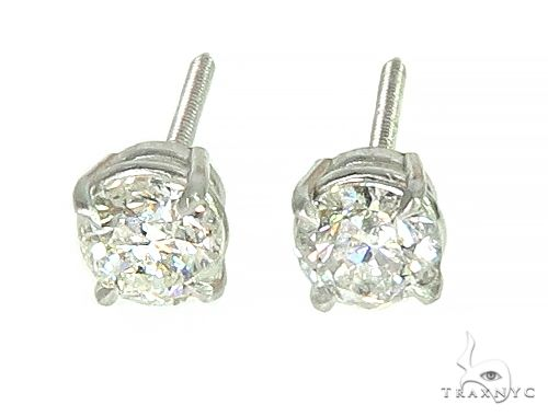 14K White Gold Diamond Stud Earrings 66055 Stone