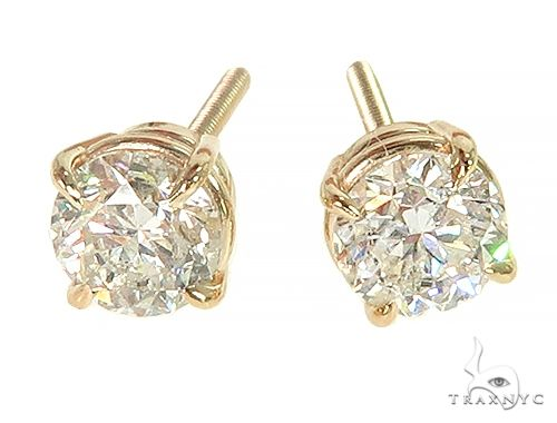 14K Yellow Gold Diamond Stud Earrings 66056 Stone