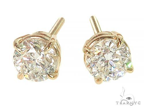 14K Yellow Gold Diamond Stud Earrings 66056 Stone