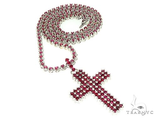 Mens Ruby Cross Set Diamond
