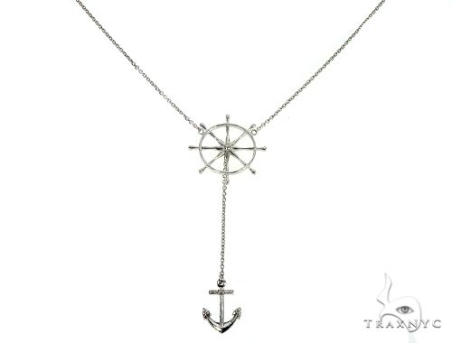 White Gold Wheel And Anchor Chain Necklace 66073 Metal