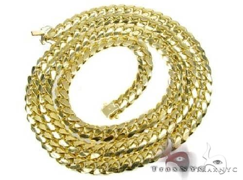 Solid Miami Cuban Link Chain 14K Yellow Gold 24 Inches 7mm 88.8 Grams 66075 Gold