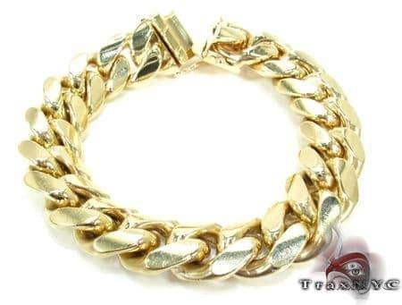 Solid Miami Cuban Link Bracelet 14K Yellow Gold 8.5 Inches 10mm 72.5 Grams 66083 Gold