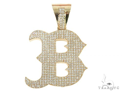 Custom Made B Initial Diamond Pendant 66085 Metal