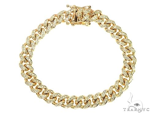 10K Yellow Gold Diamond Cuban Link Bracelet 66089 Diamond