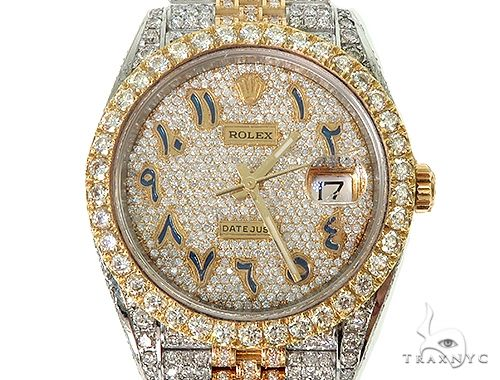 41mm Mens Two Tone 18K Yellow Gold and Stainless Steel  Fully Iced Pave Diamond DateJust Rolex Watch 66098