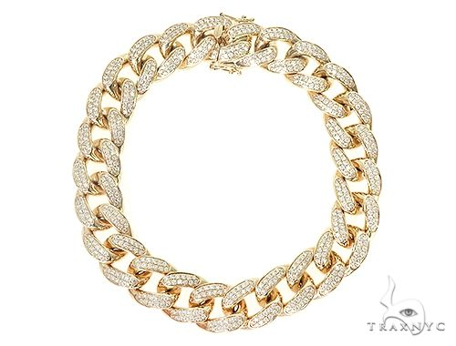 10K Yellow Gold Diamond Cuban Link Bracelet 66099 Diamond