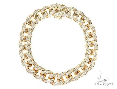 10K Yellow Gold Diamond Cuban Link Bracelet 66099 Diamond