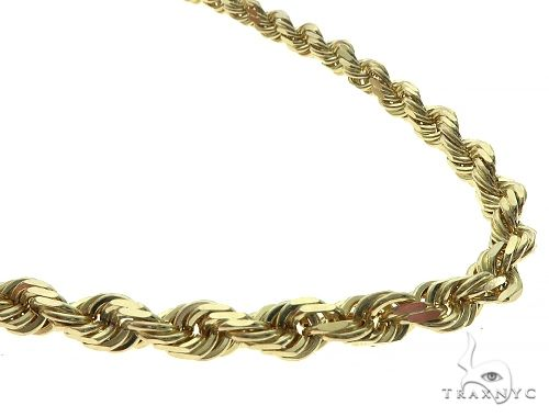 Solid Rope Gold Chain 14K Yellow Gold 30 Inches 6.5mm 128.9 Grams 66113 Gold
