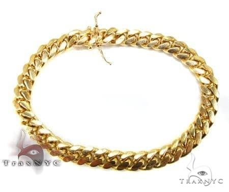 Solid Miami Cuban Link Bracelet 9 Inches 8mm 45.6 Grams 66118 Gold