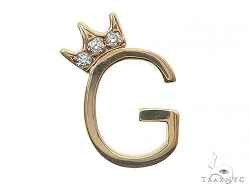 14K Yellow Gold G Diamond Crown Initial Pendant 66122 Style
