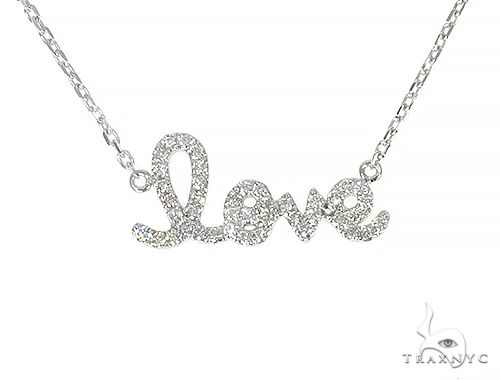14K White Gold LOVE Diamond Necklace 66129 Diamond
