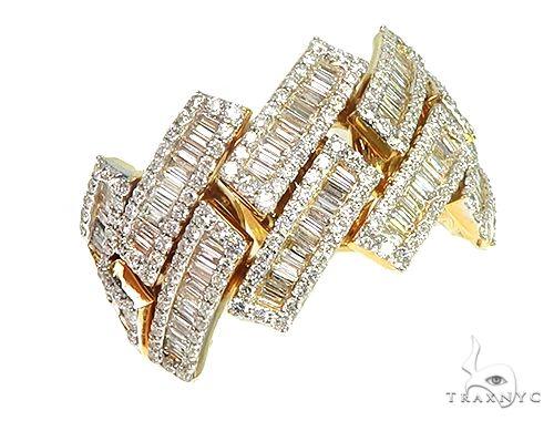 14K Yellow Gold Baguette Diamond Cuban Ring Stone
