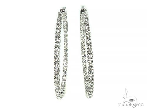 14K White Gold Diamond Hoops Earring 66132 Stone