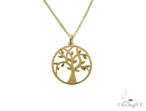 Tree of Life Pendant Necklace Plain Metal 14k Yellow Gold Metal