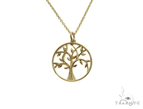 Tree of Life Pendant Necklace Plain Metal 14k Yellow Gold Metal