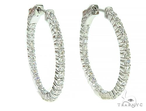 14K White Gold Diamond Hoops Earrings 66134 Style