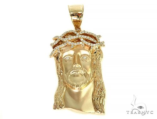 Solid 14K Gold Jesus Pendant With Diamond Crown 66152 Style
