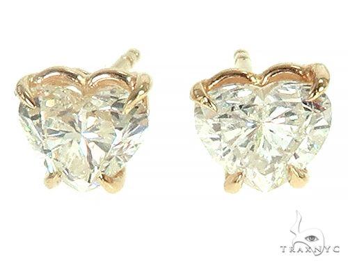 14K Gold Heart Shape Diamond Earrings 66153 Stone