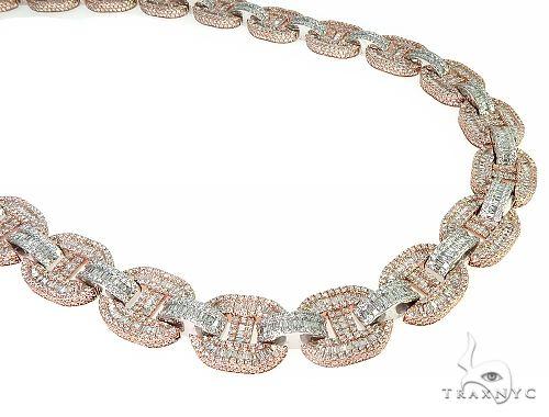 14K TwoTone Baguette Diamond Gucci Link Chain 162.0 Grams 22 Inches 16mm 66157 Diamond