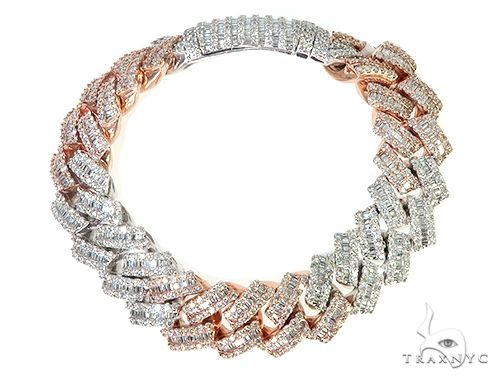 14K TwoTone Baguette Diamond Cuban Link Bracelet 144.8 Grams 9 Inches 17mm 66159 Diamond
