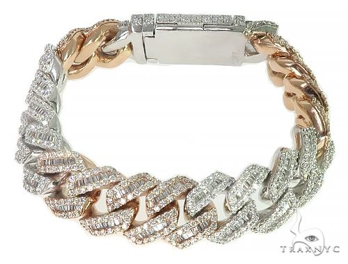 14K TwoTone Baguette Diamond Cuban Link Bracelet 160.8 Grams 9 Inches 18mm 66160 Diamond