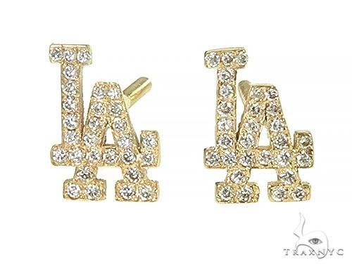 14K LA Dodger Earrings 66165 Stone
