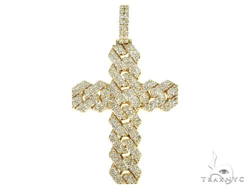 14K Yellow Gold Cuban Link Diamond Cross 66168 Diamond
