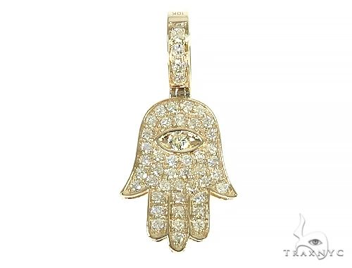 14K Yellow Gold Hamsa Diamond Pendant 66169 Stone