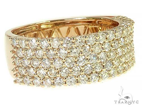 14K Yellow Gold 5 Row Diamond Ring 66173 Stone