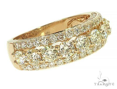 14K Yellow Gold 3 Row Diamond Ring 66174 Stone