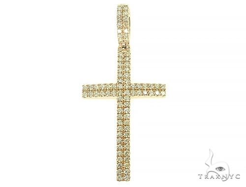 Yellow Gold 2 Row Diamond Cross 66175 Diamond
