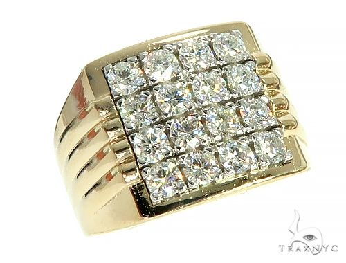 14K Yellow Gold 16 Stones Diamond Ring 66177 Stone