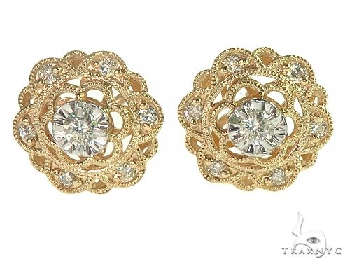 14K Yellow Gold Vintage Diamond Stud Earrings 66188 Stone
