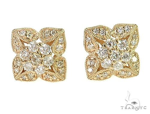 14K Yellow Gold Vintage Diamond Stud Earrings 66189 Stone