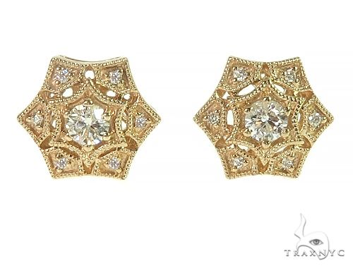 14K Yellow Gold Vintage Diamond Stud Earrings 66190 Stone