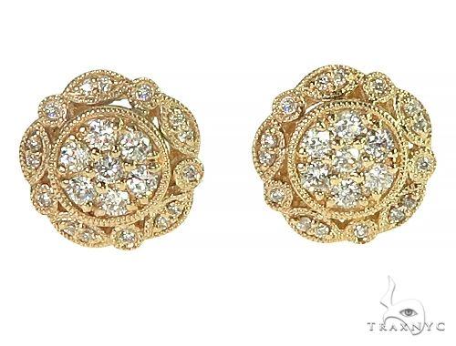 14K Yellow Gold Vintage Diamond Stud Earrings 66191 Stone