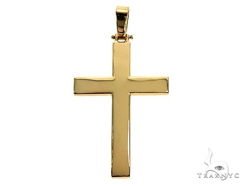 14K Gold Solid Cross Pendant 66193 Gold