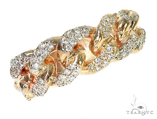 14K Yellow Gold Diamond Cuban Link Ring 66194 Stone