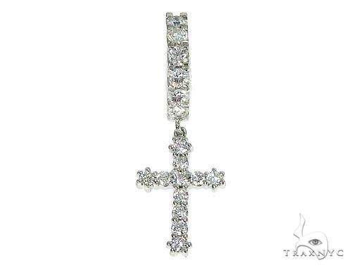 14K Gold Diamond Single Cross Earrings 66195 Stone