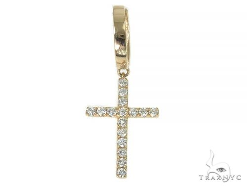 14K Gold Diamond Single Cross Earrings 66196 Stone
