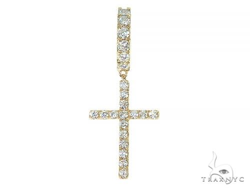 14K Gold Diamond Single Cross Earrings  66197 Stone