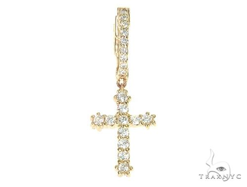 14K Gold Diamond Single Cross Earrings 66199 Stone
